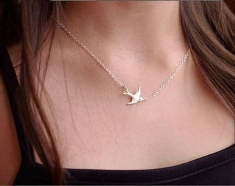 Bird Necklace,Bridesmaids Gift,Sterling Silver Bird Necklace,Bird Jewelry,Swallow Necklace,Bird Fashion,Dainty Bird Necklace,Bridesmaids