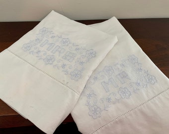 Vintage Set of Mr and Mrs Pillowcases 1950s Pre Loved for the Bride and Groom Floral Embroidery FREE SHIPPING