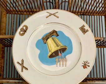 Vintage Liberty Bell Plate with Marines Soldiers Rifles Tank Parachute Flags American Ceramic Vintage Liberty Bell Plate with Honor Guard