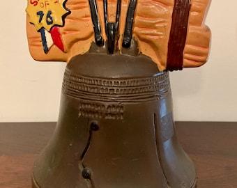 Vintage Spirit of 76 Liberty Bell Piggy Bank 1970's Liberty Bell Bank Made in Hong Kong Vintage Liberty Bell Bank No Stopper