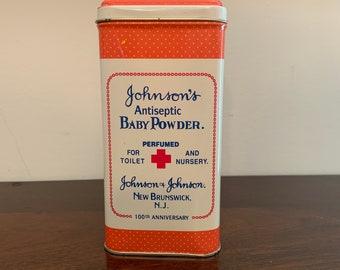 Vintage Johnson's Antiseptic Baby Powder Tin 100th Anniversary Tin Johnson & Johnson Baby Powder Tin