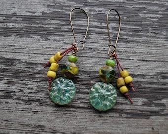 Green Earrings - Lucky Green - Dahlia - Rustic Dangle Earrings - Teal and Olive - Long Earrings - Bead Soup Jewelry
