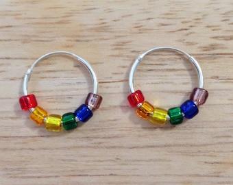 Rainbow Earrings - Rainbow Jewelry - Sterling Silver Hoop Earrings - Silver Hoop Earrings