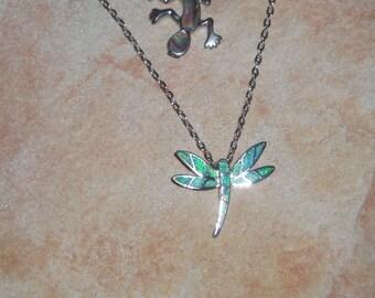 Gift for wife Sterling silver 925 Anniversary gift, Opal jewelry Greek jewelry Opal pendants Blue Opal Dragonfly Pendant