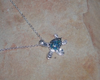 Blue Fire Opal, Turtle Pendant Necklace