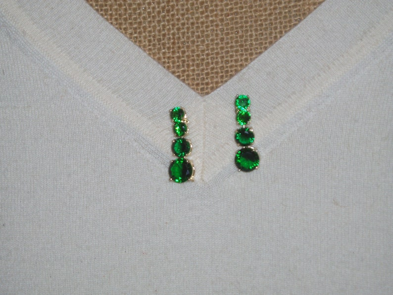 18K Gold Filled Gemstone Stud Earrings Zambian Green Faceted 40.00 Carats Emerald