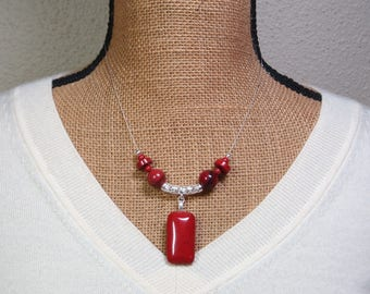 Natural Red River Jasper Gemstones, 925 Silver Necklace
