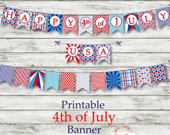 4th of July Banner ~ Printable Banner ~ INSTANT DOWNLOAD ~ Print NOW ~ Printable Independence Day Banner ~ Red White & Blue