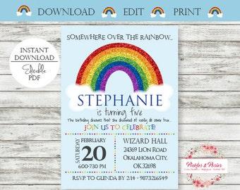Editable Rainbow Birthday Invitation - Rainbow Party Invitation - Rainbow Birthday Invite - Printable - Digital File - Edit w/ Adobe Reader