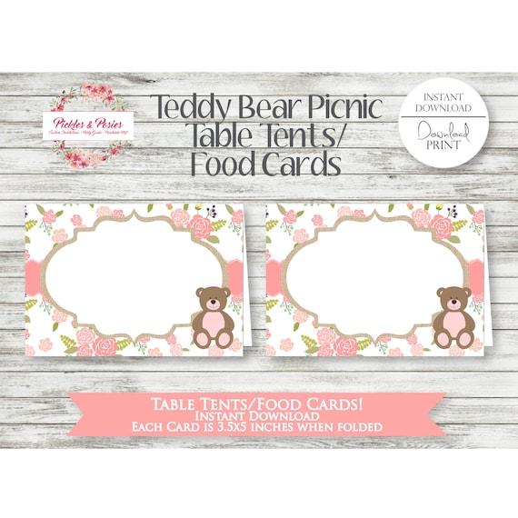 Teddy Bear Picnic Table Tents Teddy Bear Food Cards   Etsy