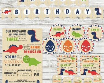 Party Pack - Dinosuar Birthday Supplies - Dinosaur Invitation - Printable - Personalized Invitation - Banner Thank you Note Favor Tags