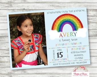 Photo Rainbow Birthday Invitation - Rainbow Party Invitation - Rainbow Birthday Supplies - Printable - Digital File - PRINT THEM YOURSELF!