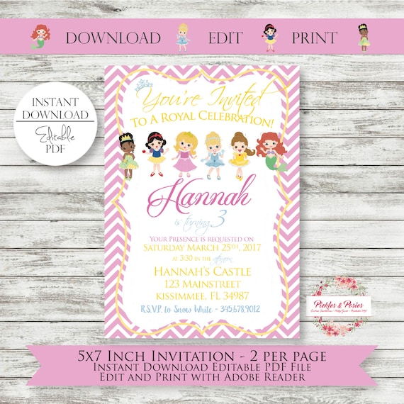 Editable princess birthday invitations instant download etsy image 0 filmwisefo