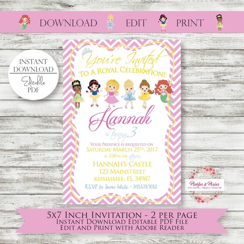 Editable Princess Birthday Invitations INSTANT DOWNLOAD | Etsy