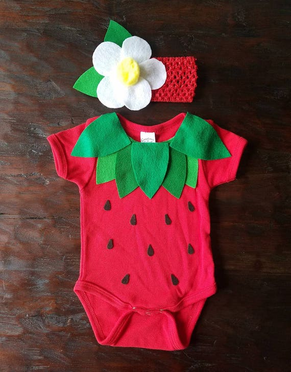 Infant / Baby Strawberry Onesie Costume with headband