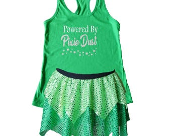 Tinkerbell Running Costume Powered by Pixie Dust Tinkerbell Costume Fairy Tale Shirt Fairy Costume Sparkle Skirt Running Skirt  sc 1 st  Etsy & Tinkerbell costume adult | Etsy