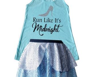 Cinderella Running Costume, Cinderella Costume, Cinderella Shirt, Fairy Tale Shirt, Cinderella Tank, Sparkle Skirt, Running Skirt