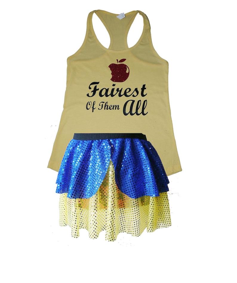 de2230228c81 Snow White Running Costume, Snow White Costume, Fairy Tale Shirt, Snow  White Tank, Sparkle Skirt, Running Skirt