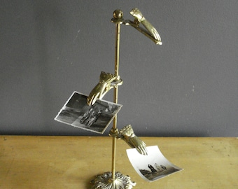 Brass Hand Post - Brass Clothespin Photo or Card Display - Vintage Mail Holder - Brass Letter Holder