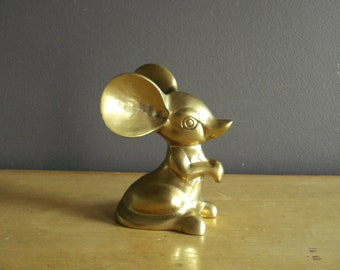 Mr. Mouse  - Vintage Brass Mouse Figurine - Vintage Animal Paperweight