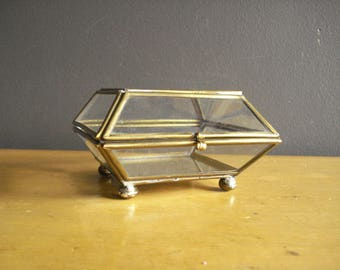 Glass Flower Box - Small Vintage Etched Glass and Brass Curiosity Box or Display - Glass Jewelry Box