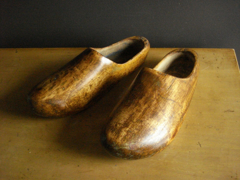 f00382cc60 Two Wooden Shoes Vintage Dutch Shoes or Clogs Wood Shoe