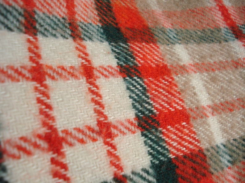 Neutral Colors with Pop White Green Tan Picnic Blanket Orange Vintage Plaid Blanket