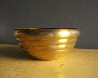 Beehive Brass - Vintage Brass Bowl - Low, Round Brass Bowl - Mid Century Design