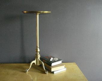 A Leg Up - Vintage Brass Plant Stand or Side Table - Mini Brass Table