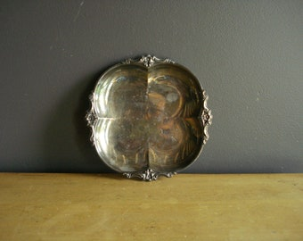 Vintage Silver Tray - Mini Square ish Round ish Silver Plate Silverplate Bowl or Serving Tray