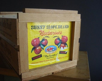 Sunny Slope Carolina Nectarines - Vintage Fruit Crate - Wooden Fruit Crate - Wood Nectarine Box