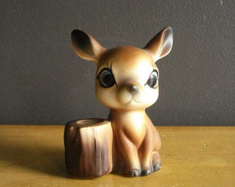 Tiny Fawn Figurine - Vintage Ceramic Deer with Toothpick Holder