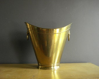 Classy Brassy Trashy - Vintage Brass Wastepaper Basket or Planter Lion Head Handles - Brass Trash Can - Made in England
