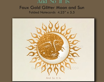 Moon and Sun Note Cards - And So it Is - Personalized Note Cards - Art Print