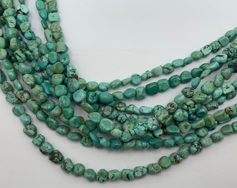Coated Chrysocolla Faceted Nuggets Beads,Chrysocolla Nugget Shape Smooth Loose Gemstone Necklace,Chrysocolla Tumbled Beads,8 Inches Strand