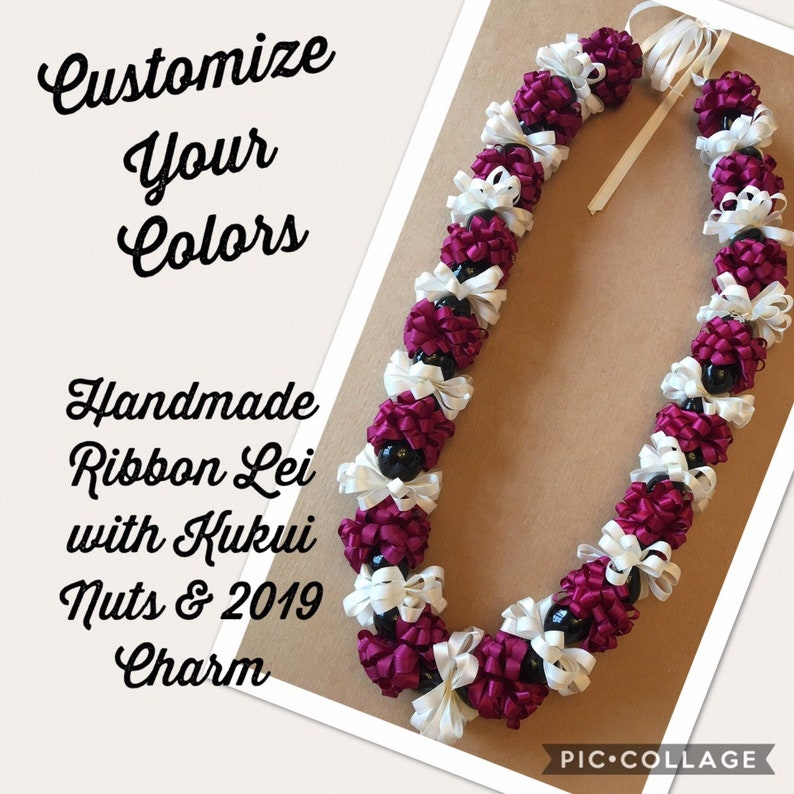 Kukui Nut Lei Purple Hibiscus Flower Necklace Graduation Wedding Hawaiian Luau N