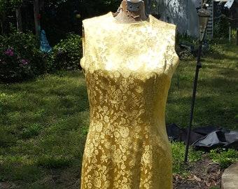 50s Dress, 50s Cocktail Dress, Gold Dress, Brocade Dress, Vintage Dress, Sleeveless Dress, Party Dress, Metal Zipper, 50s Party Dress