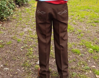 Mens Pants, Western Pant, Vintage Pants, 80s Pants, Brown Pants, Scandia Woods, Blair, Vintage Costume, 80s Costume, Pants Waist 34