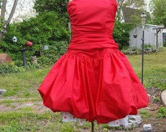 80s Prom Dress, Bubble Hem, Vintage Dress, Red Dress, Bridesmaid Dress, JC Penney, 80s Party Dress, 80s Costume, 80s Wedding, Cocktail Dress