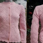 Vintage Sweater, 70s Sweater, Pink Sweater, Womens Sweater, Vintage Costume, Cardigan Sweater, Open Weave Sweater, Wintuk, Sweater Size XS