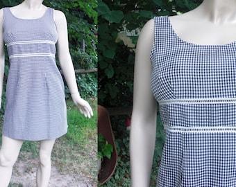 80s Dress,  Mini Dress, Vintage Dress, Sundress, Vintage Sundress, Summer Dress, Tank Dress, Checked Dress, Navy Dress, DBY, Dress Size 4