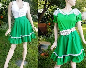 37fd04e089cf Square Dance, 70s Skirt, Vintage Shirt, Vintage Square Dance Costume, Vintage  Skirt, Hee Haw Costume, Green, Vintage Costume, 70s Costume