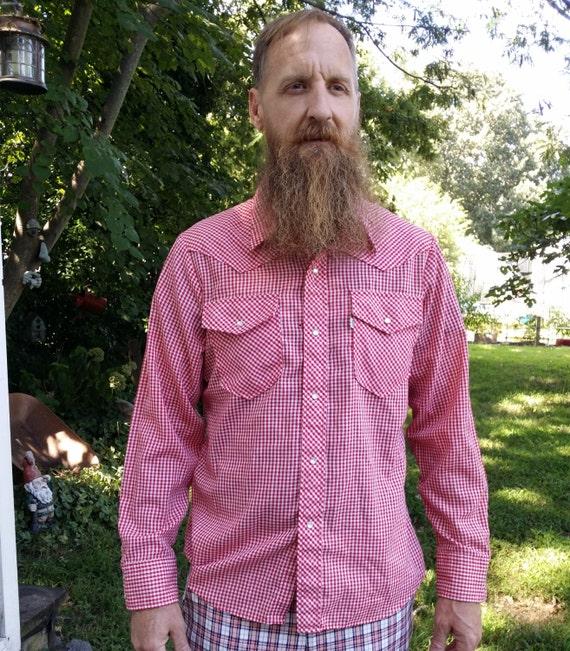 Mens Shirt, 70s Western Shirt, Vintage Shirt, Red… - image 1