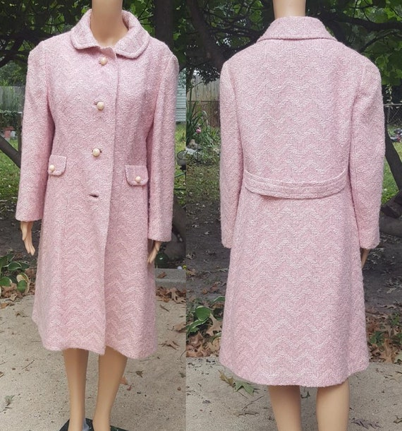 Womens 50s Coat, Vintage Coat, Pink Coat, Vintage