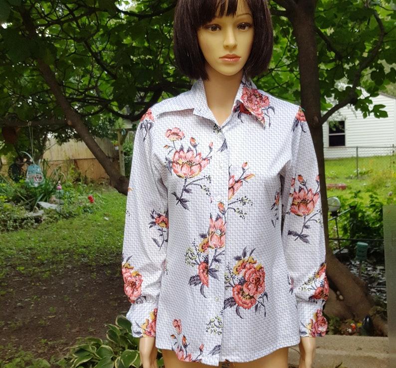 Womens 70s Shirt Disco Shirt 70s Costume Vintage Shirt image 0