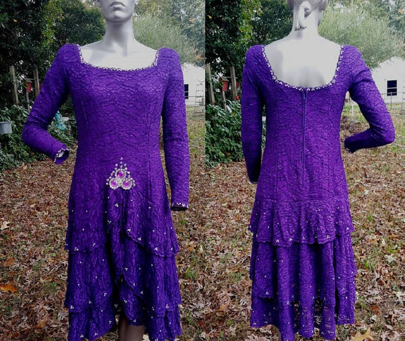 9360a7e41f 80s Prom Dress Bridesmaid Dress Purple Dress Rhinestone