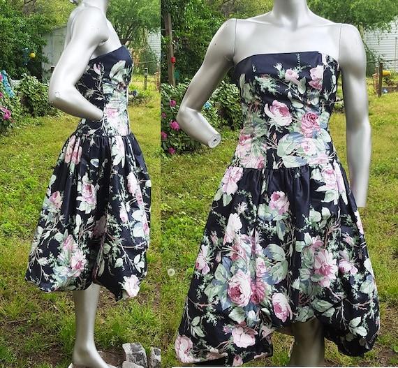 Strapless Dress, 80s Bridesmaid Dress, Bubble Hem,