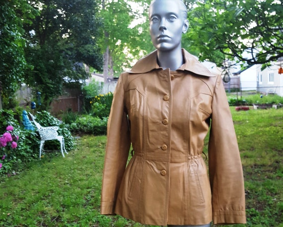 Womens 70s Leather Jacket, Vintage Jacket, Tan Jac