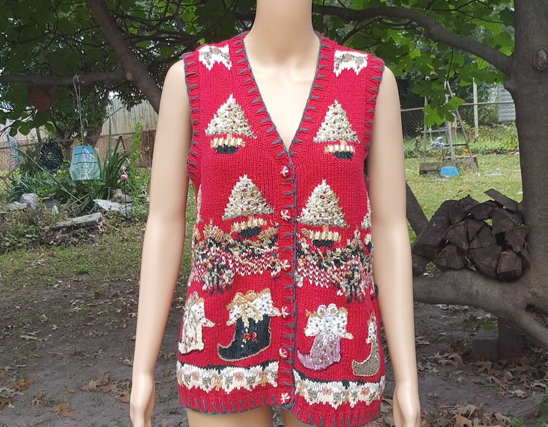Ugly Christmas Sweater Sweater Vest 80s Sweater Vintage image 0