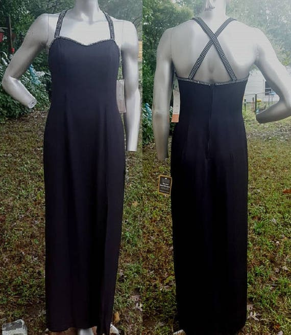 Cross Dress Dress Dress Black Rhinestone Dave 80s Johnny Criss Vintage Dress Gown Prom Dress 80s NWT Never Dress and Vintage Worn 6F4nB